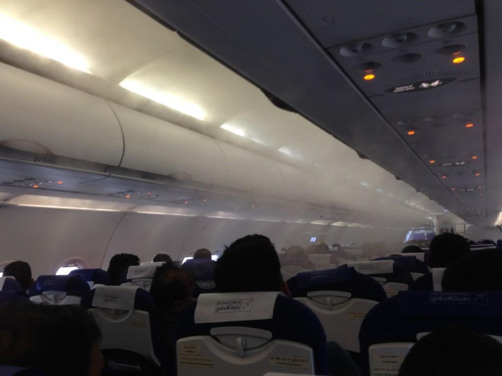 インディゴの航空機機内のエアコン